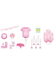 Kit décoration Baby shower fille petits pieds (8 pers.)