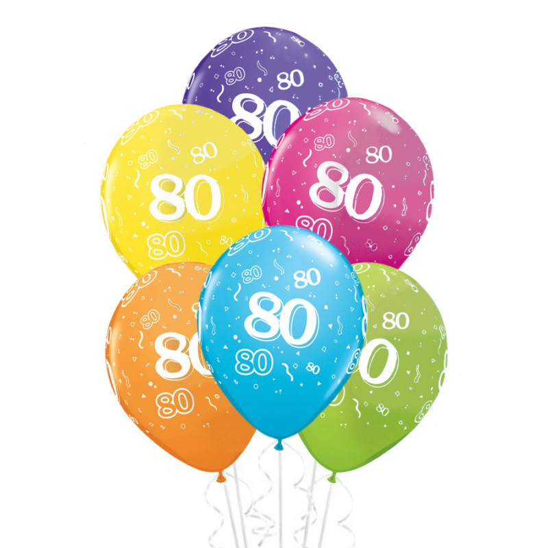 ballons anniversaire 80 ans x6 mister fiesta. Black Bedroom Furniture Sets. Home Design Ideas