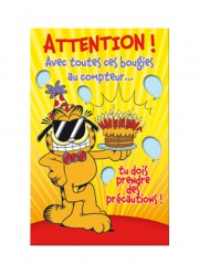 "Carte anniversaire Garfield ""Attention"""