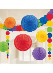 Kit décorations multicolores en papier (x9)