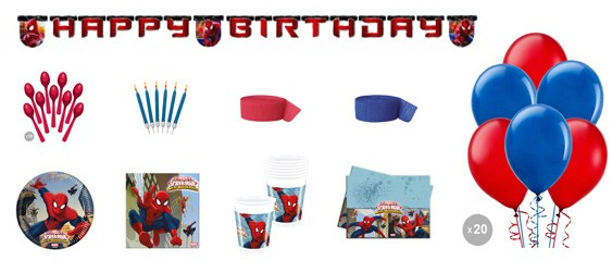 Kit anniversaire Spiderman luxe (8 pers.)