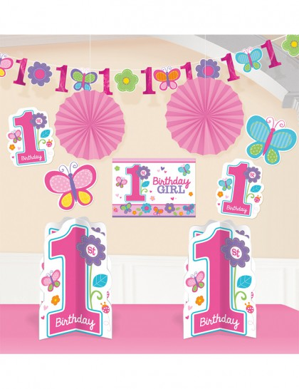 Kit d coration anniversaire 1 an fille fleurs mister fiesta for Decoration 1 an fille