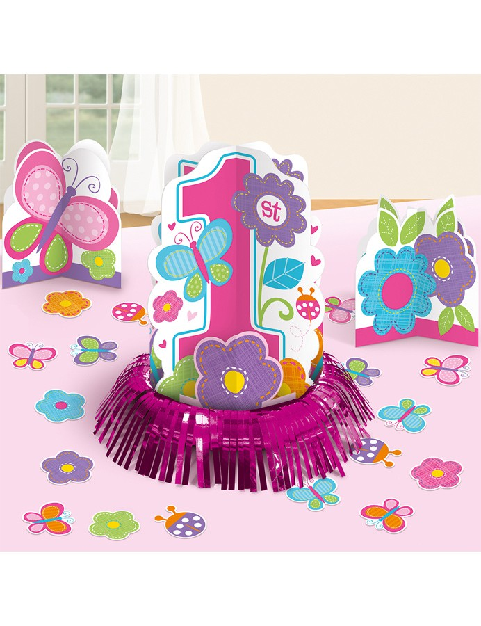 D corations de table anniversaire 1 an fille fleurs mister fiesta - Decoration table anniversaire fille 1 an ...