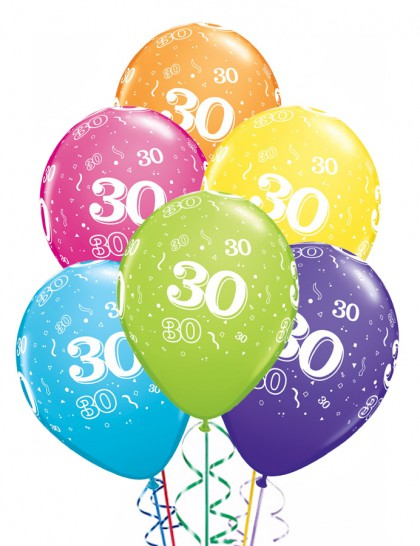 ballons anniversaire 30 ans x6 mister fiesta. Black Bedroom Furniture Sets. Home Design Ideas