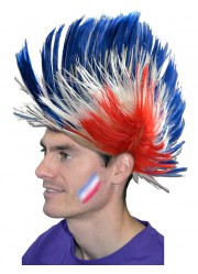 Perruque punk supporter France homme