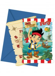Invitations anniversaire Jake et les pirates (x6)