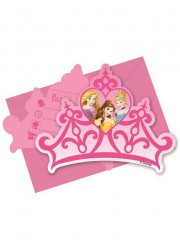 Invitations anniversaire couronnes princesses Disney (x6)
