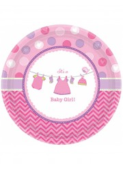 Assiettes Baby shower fille (x8)