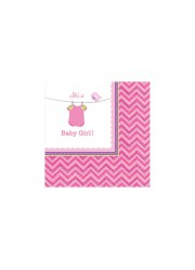 Petites serviettes Baby shower fille (x16)
