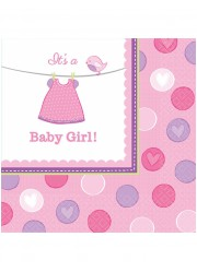 Serviettes Baby shower fille (x16)