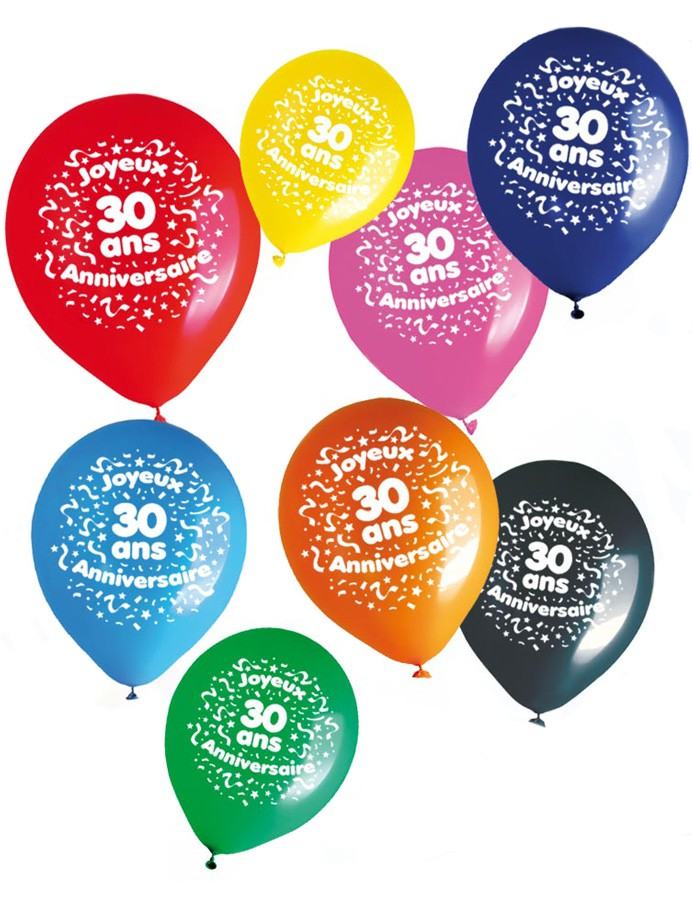 ballons anniversaire 30 ans x8 mister fiesta. Black Bedroom Furniture Sets. Home Design Ideas