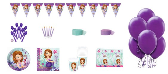 Kit anniversaire princesse Sofia luxe (8 pers.)
