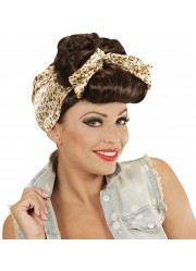 Perruque pin up rockabilly femme avec bandeau