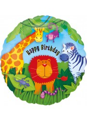 "Ballon ""Happy Birthday"" animaux de la jungle 46 cm"