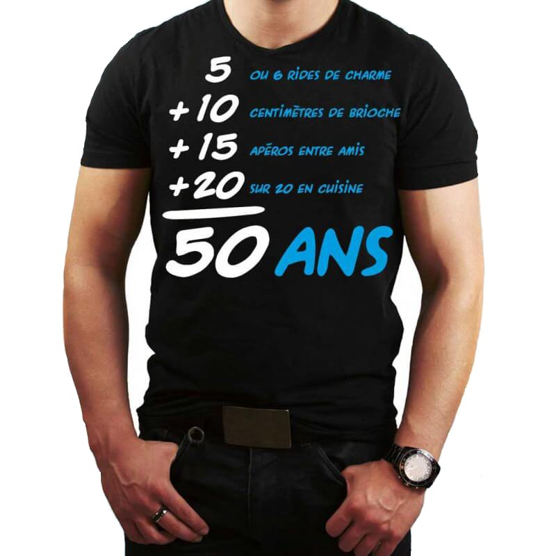 t shirt anniversaire addition 50 ans homme mister fiesta. Black Bedroom Furniture Sets. Home Design Ideas