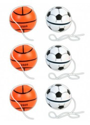 Lot yoyos ballons de foot et de basket (x6)