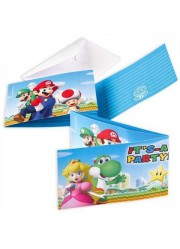 8 cartons d'invitations super Mario
