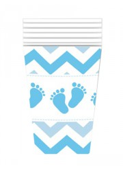 """Gobelets rose Baby shower fille """"petits pieds"""" (x6)"""