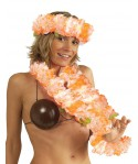 Set hawaien grosses fleurs orange/blanc adulte