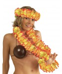 Set hawaien grosses fleurs orange/jaune adulte