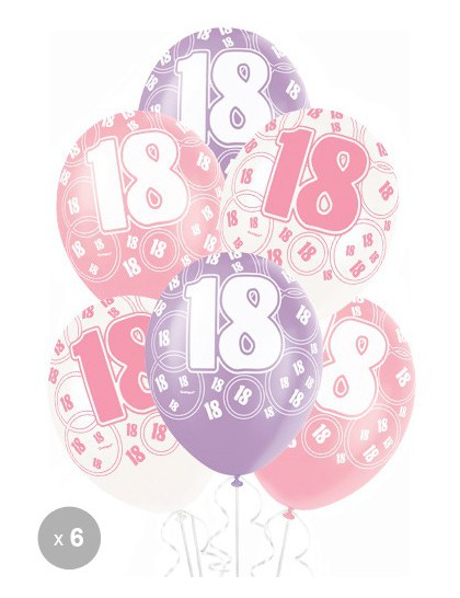 ballons anniversaire 18 ans roses x6 mister fiesta. Black Bedroom Furniture Sets. Home Design Ideas