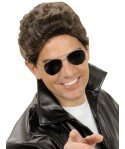 Perruque Greaser marron homme