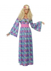 Déguisement robe hippie flower power adulte
