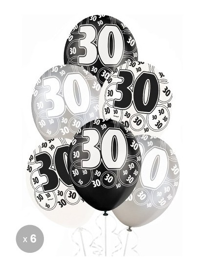 ballons anniversaire 30 ans noirs x6 mister fiesta. Black Bedroom Furniture Sets. Home Design Ideas