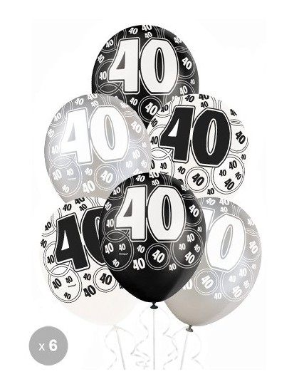 ballons anniversaire 40 ans noirs x6 mister fiesta. Black Bedroom Furniture Sets. Home Design Ideas
