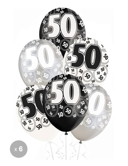 ballons anniversaire 50 ans noirs x6 mister fiesta. Black Bedroom Furniture Sets. Home Design Ideas
