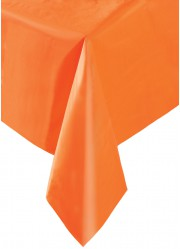 Nappe orange en plastique (137 x 274 cm)