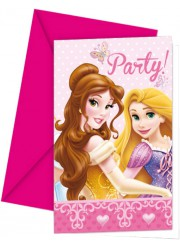 Invitations anniversaire princesses Disney (x6)