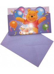 Invitations anniversaire Winnie l'ourson (x6)