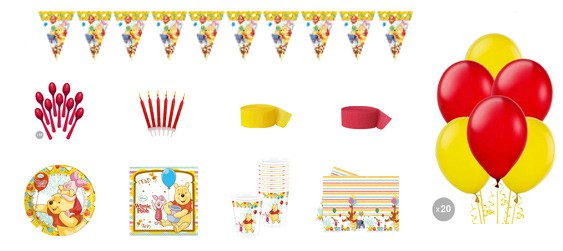 Kit anniversaire Winnie l'ourson luxe (8 pers.)