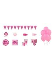 Kit anniversaire happy birthday rose luxe (8 pers.)