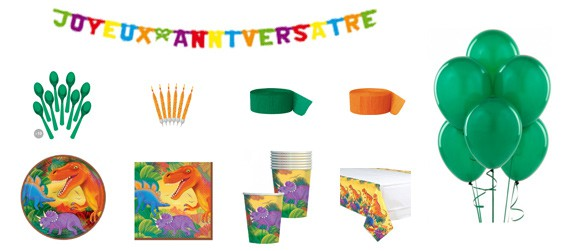 Kit anniversaire dinosaures luxe (8 pers.)