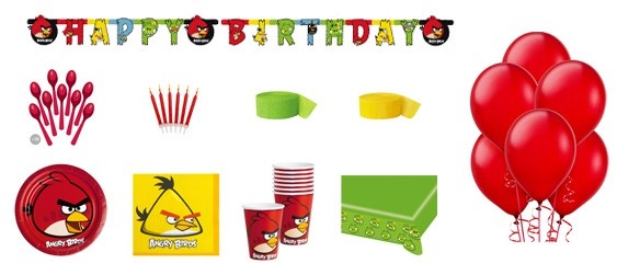 Kit anniversaire Angry birds luxe (8 pers.)