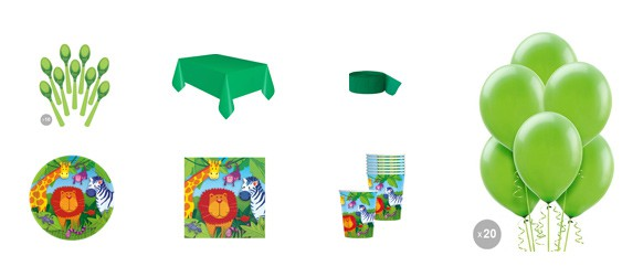 Kit anniversaire jungle (8 pers.)